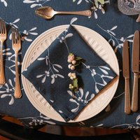 Luxury Designer Christmas Napkin Sets Mistletoe Navy