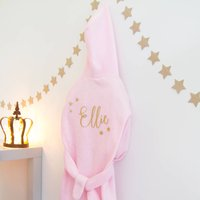 Childrens Fleece Personalised Glitter Robe, White/Pink/Blue