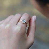 14k Gold Vermeil Natural Moonstone Ring, Gold