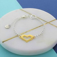 Heart Gold And Silver Charm Bracelet, Silver