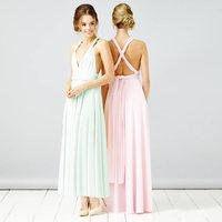 Multi Way Maxi Length Bridesmaid Dress, Mint/Baby Pink/Pink