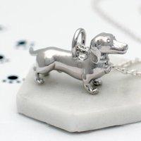 Personalised Diamond Set Dachshund Dog Necklace
