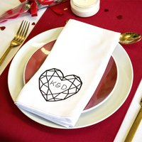 Jewelled Heart Double Initial Personalised Napkin