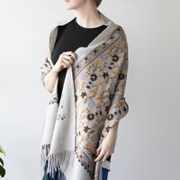 Personalised Virgin Wool Floral Full Embroidery Shawl