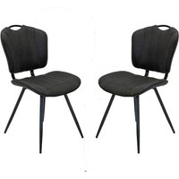 Austin Moleskin Mussel Brown/Grey Two Dining Chairs