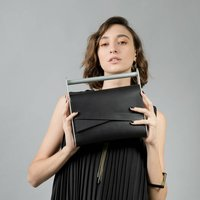 Black Contemporary Leather Clutch With Handle