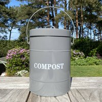 Kitchen Compost Caddy Bin In French Grey