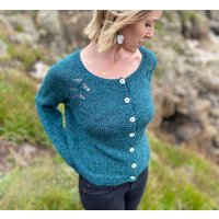 The Hand Knitted Seren Turquoise Cardigan