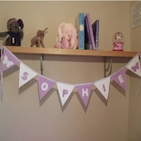 Personalised Fabric Nursery Baby Name Bunting Banner, Beige/White/Red