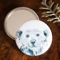 Inky Polar Bear Pocket Compact Mirror