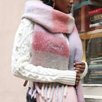 Personalised Checkered Oversized Scarf In Red And Pink