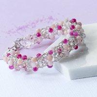 Cherry And Rose Quartz Woven Silver Bracelet, Silver
