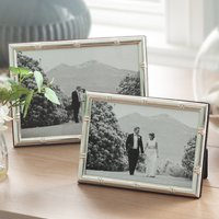 Silver Picture Frame With Bamboo Edge