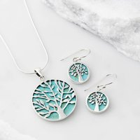 Tree Of Life Healing Gemstone Necklace And Earring Set, Turquoise/Pearl