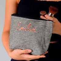 Embroidered Black And Cream Stripe Make Up Bag