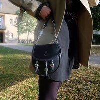 Personalised Black Leather Bag