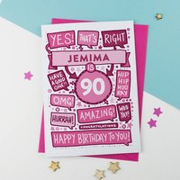 90th Thats Right Personalised Birthday Card Pink, Pink