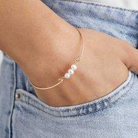 Gold Or Silver Pearl Cluster Bangle Bracelet, Silver