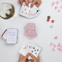 Personalised Wedding Foiled Heart Playing Cards