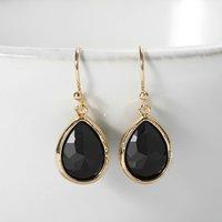 Gold Plated Black Teardrop Earrings, Gold