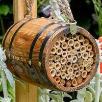 Personalised Wooden Barrel Garden Bee Hotel