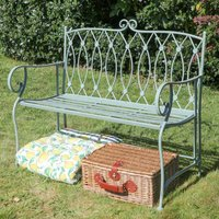 Pistachio Green Button Back Scrolled Garden Bench