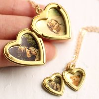 Mother And Daughter Gold Locket Necklace Set, Gold