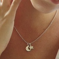Mini Moon And Star Necklace In Silver And Gold, Silver