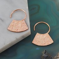 Textured Disk Rose Gold Geometric Earrings, Gold