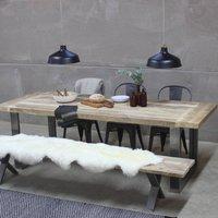 Trafalgar Reclaimed Wood Dining Table With Steel Frame, Black/White/Grey