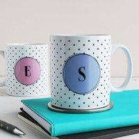 Set Of Two Personalised Monogram Mugs, Polka Dot, Peach/Cream/Lime