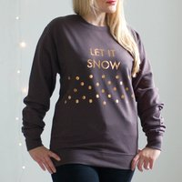 Christmas Jumper Grey And Rose Gold Let It Snow