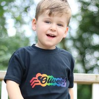 Retro Rainbow Personalised Screen Printed T Shirt