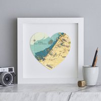 Personalised Location Dubai Map Heart Print