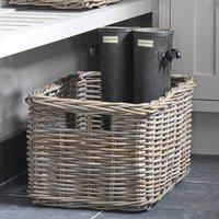 Grey Rattan Deep Rectangular Basket