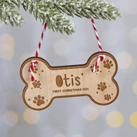 Dog's Wooden Bone First Christmas Decoration