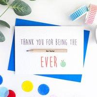 Teacher/Ta Thank You Card With Pencil