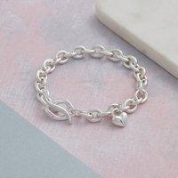 Lifetime Solid Silver Heart Charm Bracelet, Silver