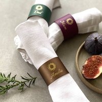 Personalised Set Of Four Festive Leather Napkin Rings