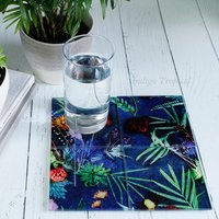 Exotic Tropical Pattern Glass Coaster Gift Set