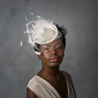 Bridal Feather Cocktail Hat With Net Veil