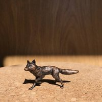Miniature Solid Bronze Fox Sculpture