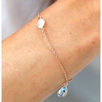 18ct Rose Gold Moonstone And Gemstone Bracelet, Gold