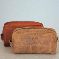 Personalised Large Leather Wash Bag
