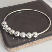 80th Birthday Handmade Silver Bangle, Silver