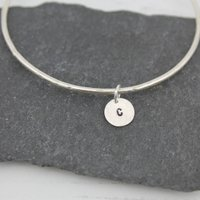 Silver Personalised Dinky Charm Bangle, Silver