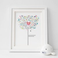 Personalised New Baby Girl Happiness Tree Print