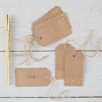 Brown Kraft And Spotty Gold Foiled Luggage Tags