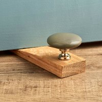 Flat Grey Ceramic Solid Oak Wedge Door Stops