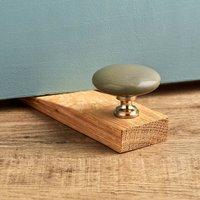 Flat Grey Ceramic Solid Oak Wedge Door Stops